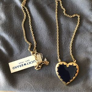 Lucky Brand reversible heart necklace gold/ navy